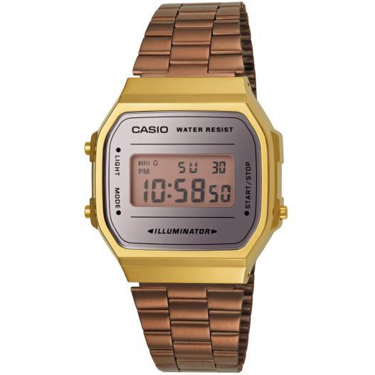 Casio Collection vergoldete Digitaluhr mit Edelstahlband Retro Spective