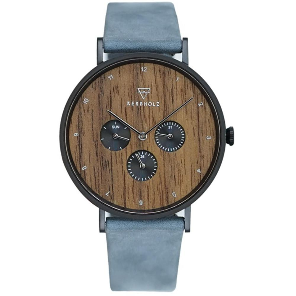 Kerbholz Herrenuhr Caspar Walnut Dark Navy mit Lederband