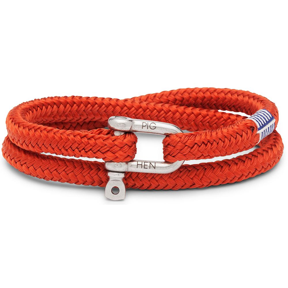 PIG & HEN Herren-Armband *SALTY STEVE* coral red silver Größe M/L